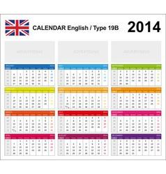 Calendar 2014 english type 19b vector
