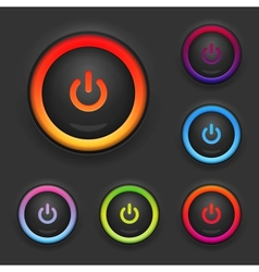 Glowing power button set vector