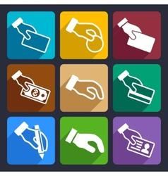 Hand with different objects flat icons set 42 vector
