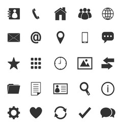 Contact icons on white background vector