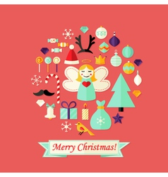 Christmas card with flat icons set and angel red vector