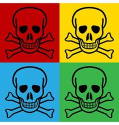 Pop art skull and bones danger sign icons vector