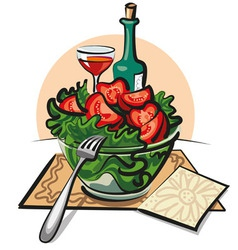 Fresh vegetable salad and wine vector