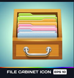 File cabinet with folders icon vector