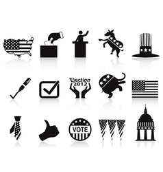 Black election icons set vector