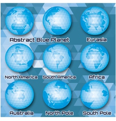 Set of polygonal abstract globes vector