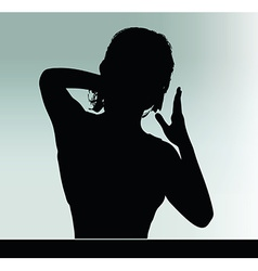 Woman silhouette with hand gesture touch the nose vector