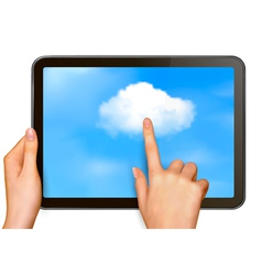 Finger touching cloud on a touch screen vector
