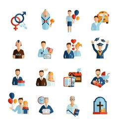 Life stages icons set vector
