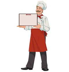 Chef presents a menu vector