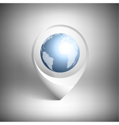 Map pointer with globe of world white icon vector