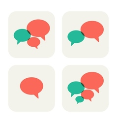 Trendy flat icons with speech bubbles set vector