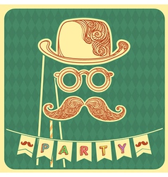 Moustache party background with text vector