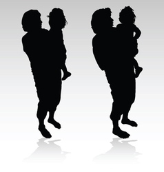 Grandmother holding a little girl black silhouette vector