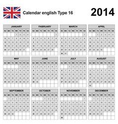 Calendar 2014 english type 16 vector