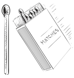 Matches and box sketch doodle icon vector