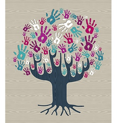 Winter colors diversity tree hands vector