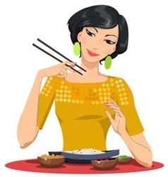 Beautiful girl eats with chopsticks vector