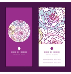 Colorful line art flowers vertical round vector