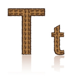 Letter t is made grains of coffee isolated on whit vector