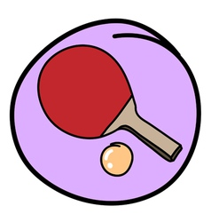 Table tennis bat with ball on purple round backgro vector
