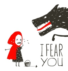 Little red riding hood crying and black scary vector