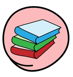 Pile of books on round pink background vector