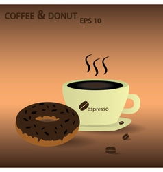 Coffee and donut eps10 vector