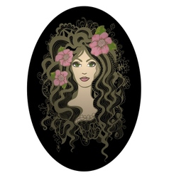 Creative oval  beautiful hand drawn girl wit vector