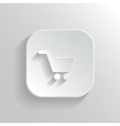 Shopping cart icon - white app button vector