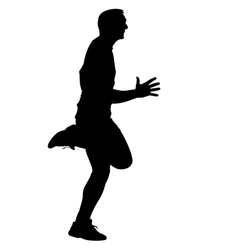 Athlete on running race silhouettes vector