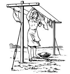Woman hangs the linen vector