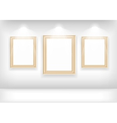 Empty frame on wall in gallerys vector