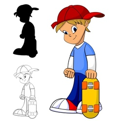 Kid with skateboard vector
