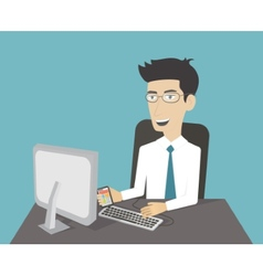Business man working at computer vector