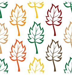 Seamless background pattern of colorful leaves vector