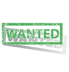 Green outlined wanted stamp vector
