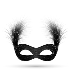 Black carnival mask with fluffy feathers isolated vector