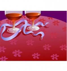 Two wine glass and ribbon vector