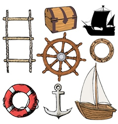 Marine related objects vector