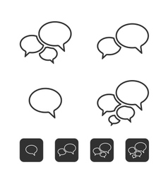 Trendy thin icons with speech bubbles set vector