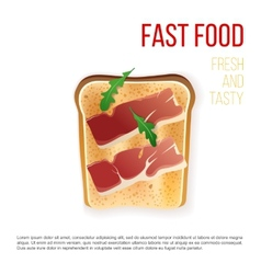 Toast with bacon vector