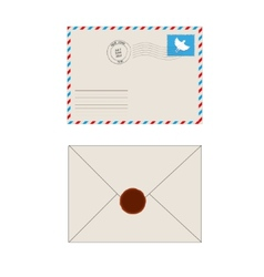 Old postage envelope with stamps isolated vector