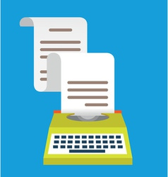 Vintage typewriter with paper equipment for blog vector