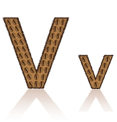 Letter v is made grains of coffee isolated on whit vector
