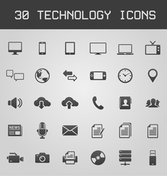 30 dark technology icons vector