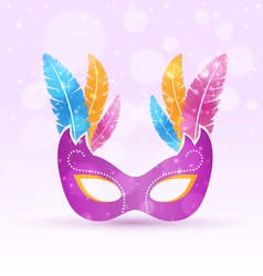 Violet carnival flat mask with multicolored vector