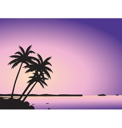 Tropical palm trees and sea vector