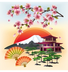 Japanese nature background with sakura and fans vector