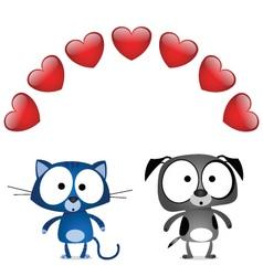 Cat dog valentine lovers vector